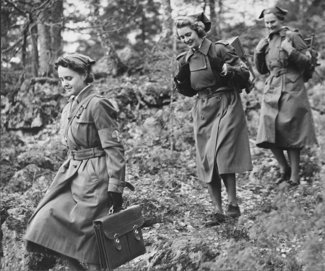 Medlemmar ur Svenska lottakåren under andra världskriget.