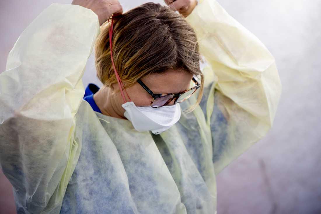 Provtagning för coronavirus.