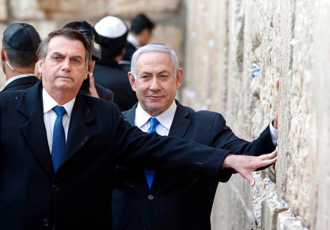 Brasiliens president Jair Bolsonaro och Israels premiärminister Benjamin Netanyahu vid besöket vid Västra muren.