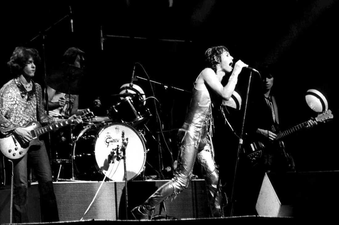 """Rolling Stones på """"Goats head soup""""-turnén i september 1973. Någon månad senare nådde den Scandinavium i Göteborg."""