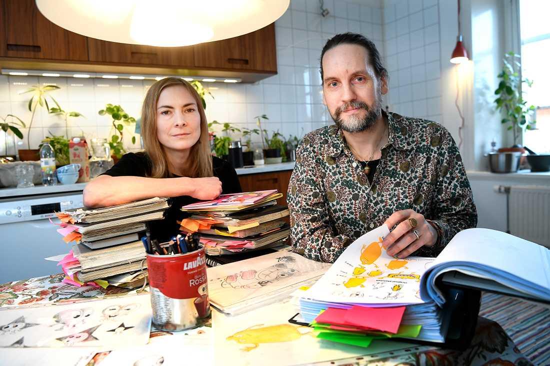 """Ola Schuberts fru Johanna är animatören bakom Babblarnas populära musikvideor: """"Det här är en principfråga"""", säger hon om konflikten."""