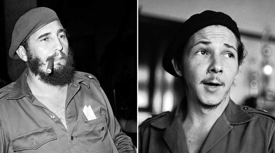 Kubas mångårige ledare Fidel Castro, fotograferad 1961, och hans bror Raúl Castro. fotograferad 1959.