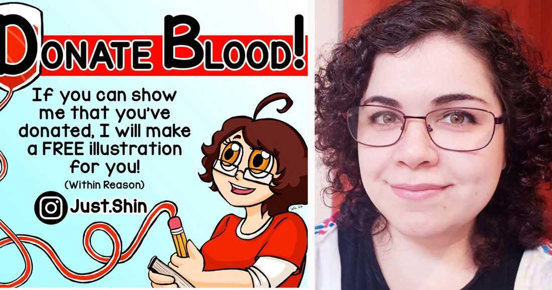 Illustratören Shin, 30, har en autoimmun sjukdom som gör att hon inte själv kan ge blod - men motivera andra.