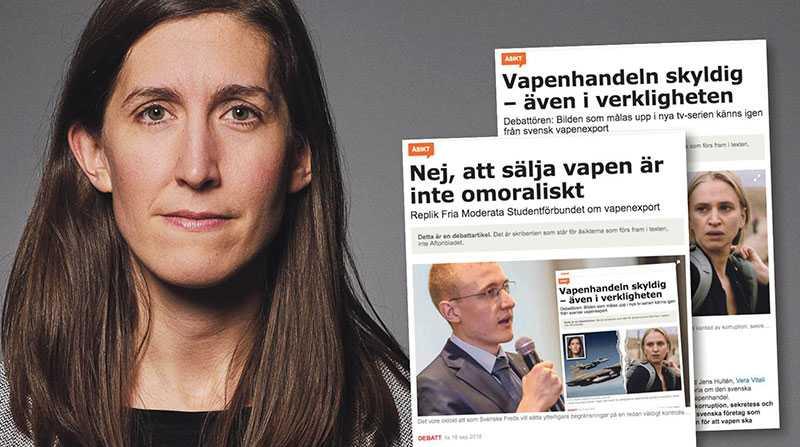 Det är för, och tillsammans med, alla de människor som kämpar för hållbar fred som vi fortsätter protestera emot den globala och svenska vapenhandeln, skriver Agnes Hellström.