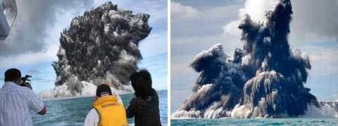 I går fick en underjordisk vulkan ett utbrott utanför Tongas kust.