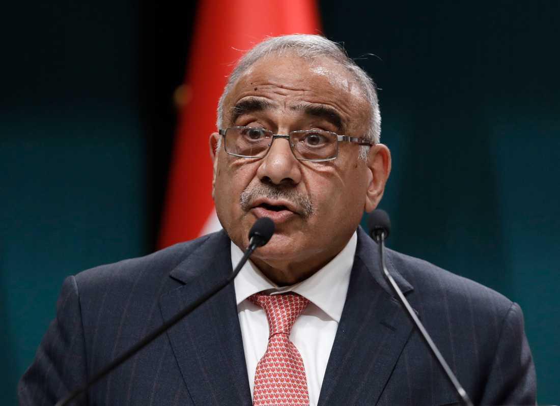 Iraks premiärminister Adil Abd al-Mahdi. Arkivbild.