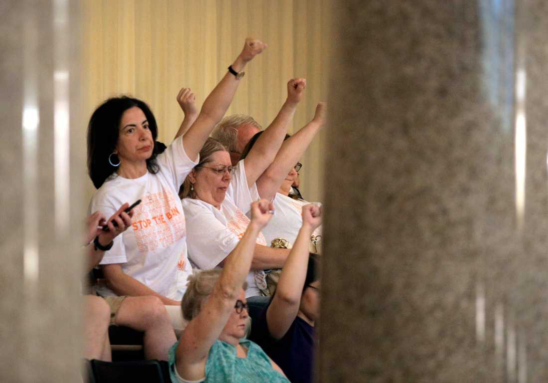 Demonstrationer för rätten till abort i Missouris representanthus inför omröstningen.