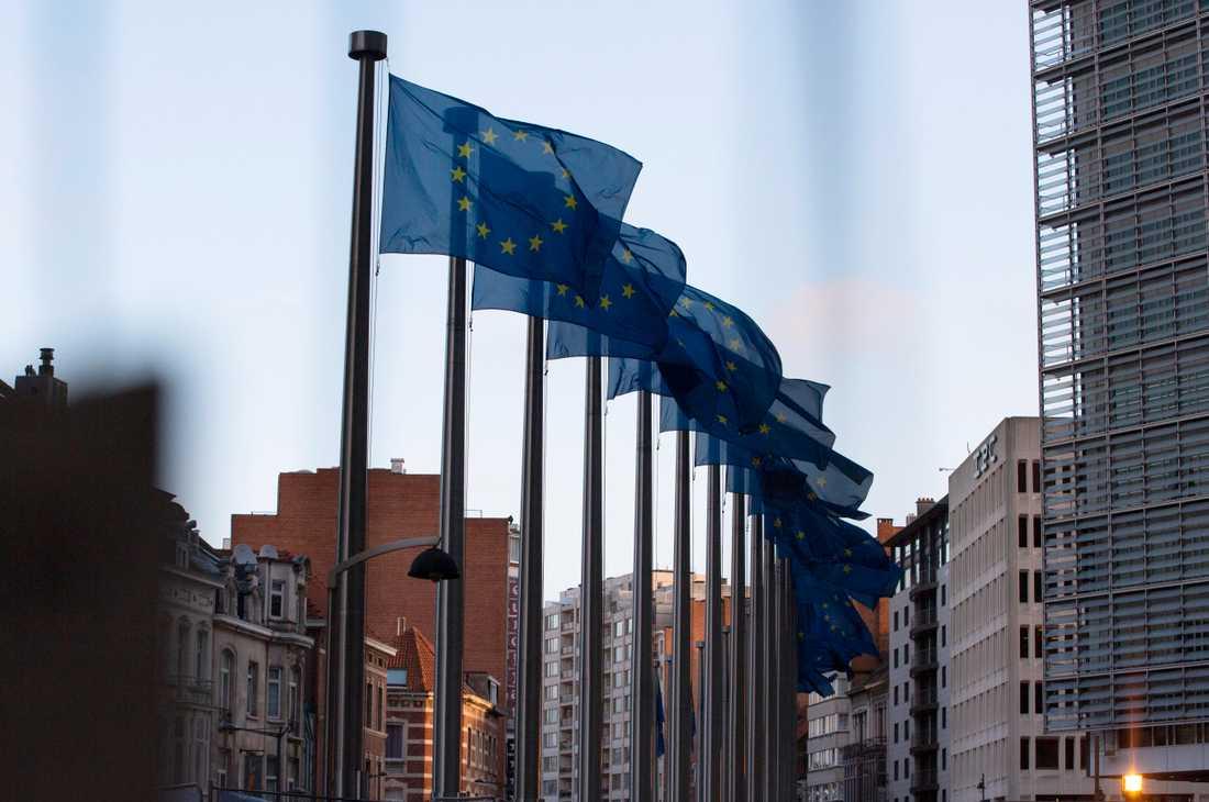 EU-flaggor utanför EU:s högkvarter på onsdagsmorgonen.