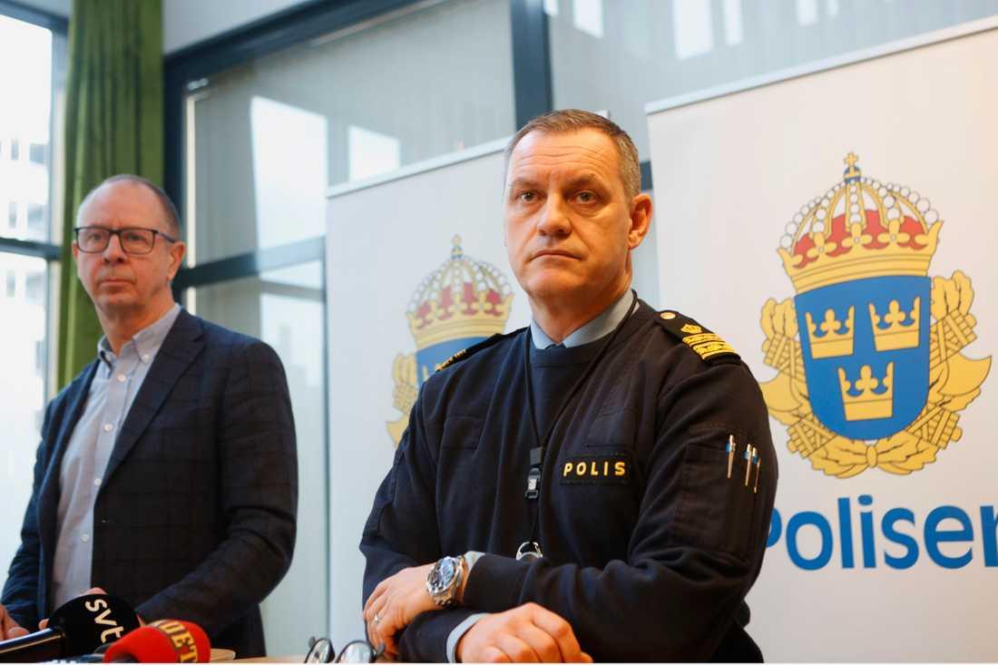 Claes-Arne Hermansson, chef sektionen för grova brott och Anders Wiberg polisområdeschef i Malmö.