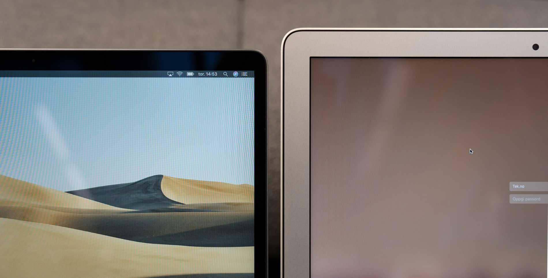 Skärmkanterna är häften så tjocka på nya Macbook Air som hos gamla.