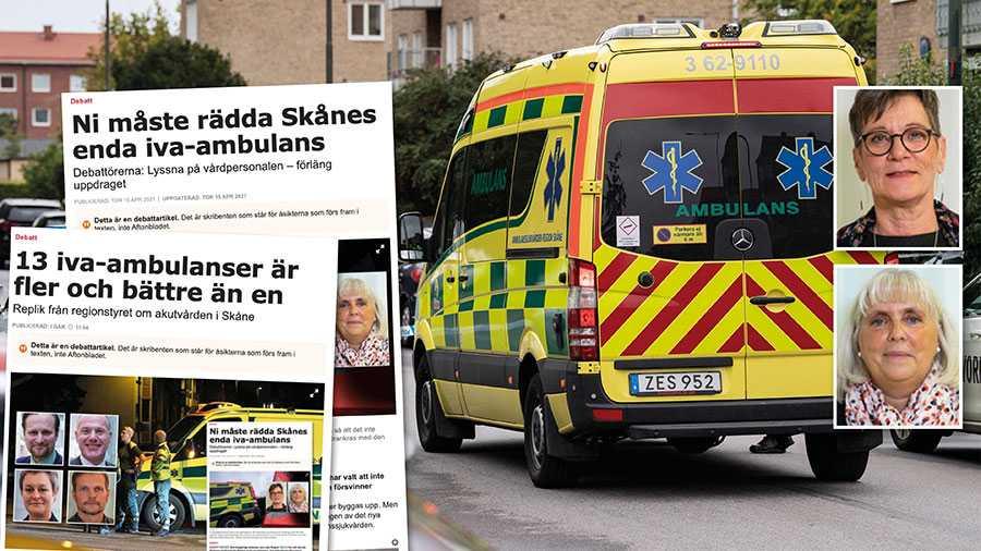 Vi har tagit del av den risk- och konsekvensanalys som nyligen genomförts. Den är gjord av representanter från intensivvården och sjukvårdsförvaltningarnas chefsläkare. Deras kritik är svidande och borde mana till eftertanke även hos alliansens företrädare. Slutreplik från S om iva-ambulansen i Region Skåne.