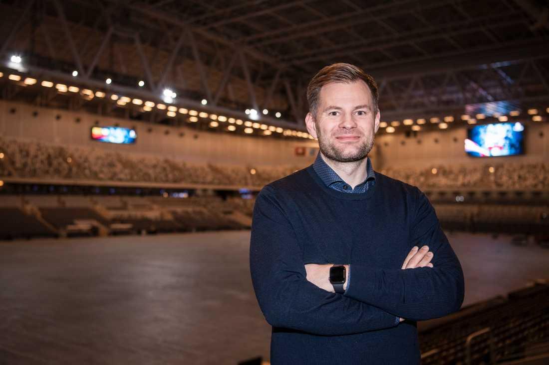 Förbundskapten Kristján Andrésson på plats på Tele2 arena vid truppens presentation.