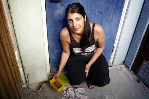 Laleh Saramolkis katt Candy har fastnat under hyreshuset. Nu har hon tagit borren i egna händer.