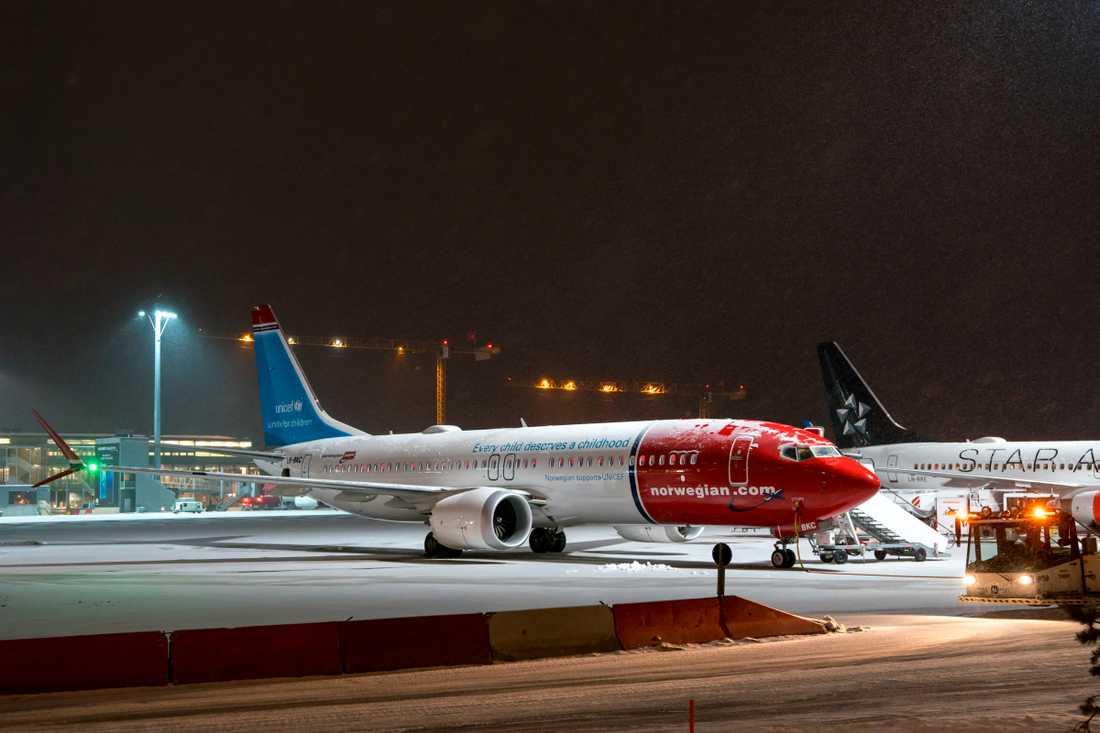En Boeing Max 8 på flygplatsen Gardermoen i Oslo.