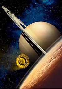 Går in för landning Om allt går vägen ska färden in mot Titan vara så smidig som den här illustrationen visar.
