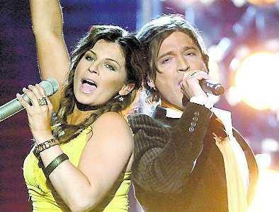 Carola och Andreas på Melodifestivalen 2008.