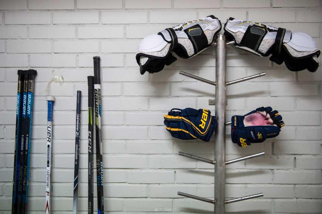 Hockeyutrustning, häst eller tio par skidor. Frågan om idrottsgymnasier och kravet på utrustning kontra lagkrav på avgiftsfri utbildning utreds i höst. Arkivbild.