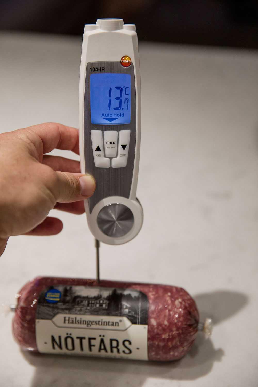 Köttfärs: 13,7 grader.