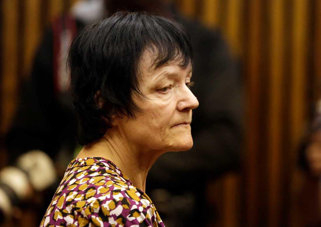 Britta Nielsen i en domstol i Johannesburg i Sydafrika den 8 november 2018 innan hon fördes till Danmark. Arkivbild.