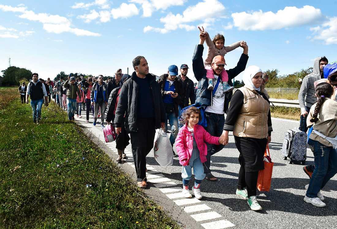 Tåg med flyktingar och migranter på väg genom Danmark i riktning mot Sverige i september 2015.
