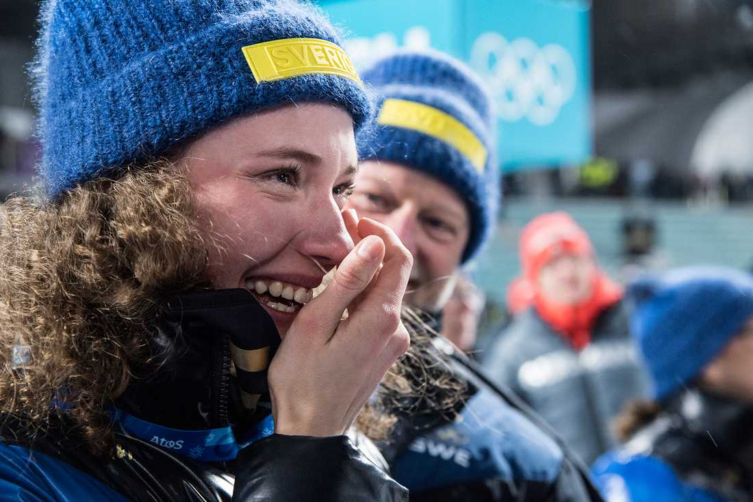 Hanna Öberg i chock efter OS-guldet.