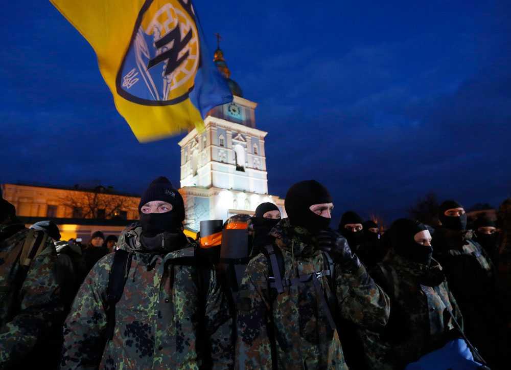 Den ukrainska frivilligkåren Azov-bataljonen som figurerar i Moreiras film.