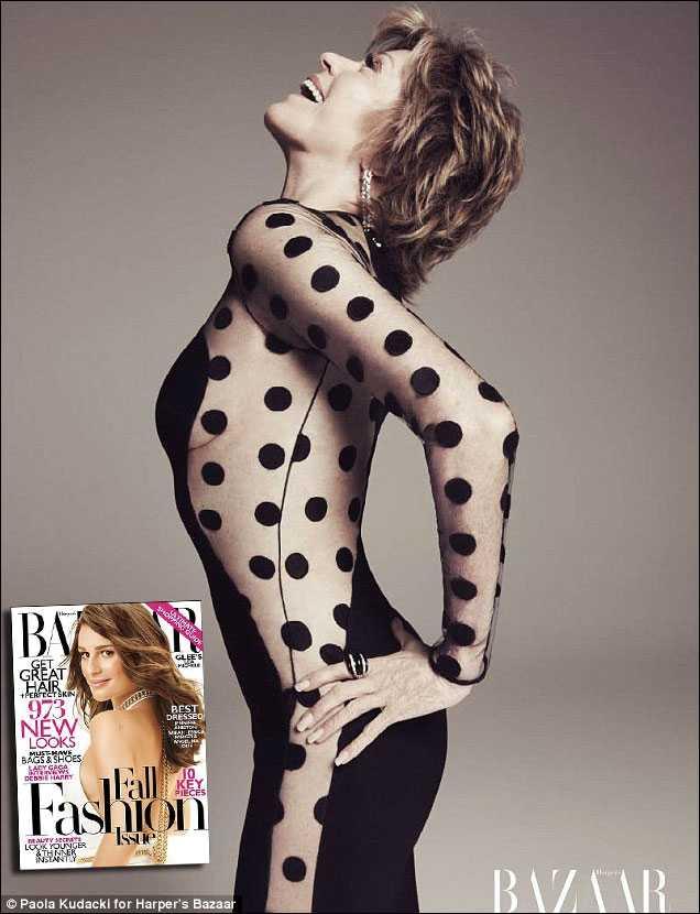 ÅLDERN FORMAR INTE KROPPEN Jane Fonda, 73, visar upp sig i det senaste numret av tidningen Harper's Bazaar.