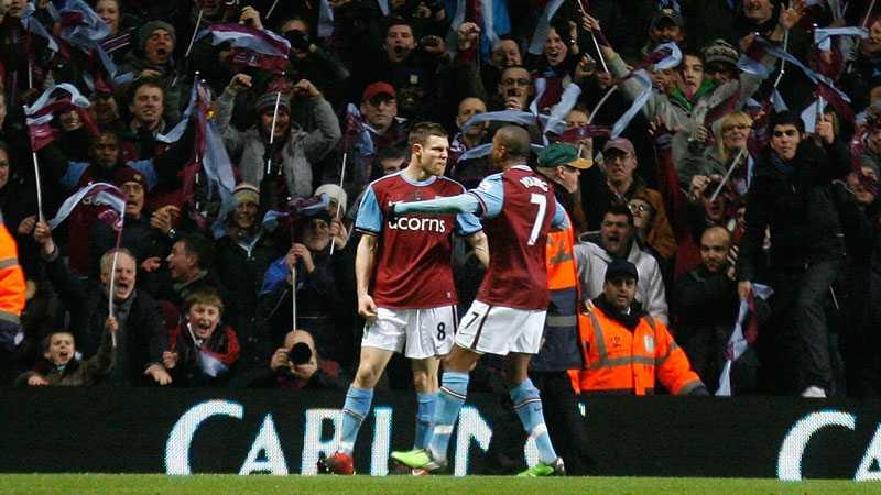 TILL FINAL James Milner och Ashley Young firar att Aston Villa är på väg till Wembley efter att ha besegrat Blackburn i semin. Men finalen får klubbens Nathan Baker inte se.