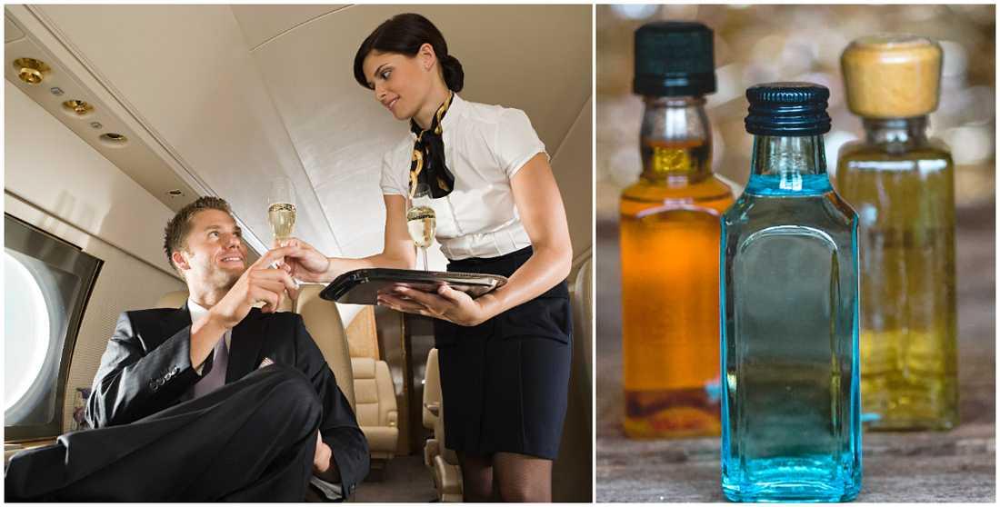 Medhavda flaskor med sprit dricks på flygplan, trots förbud.