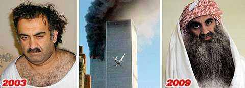 Khalid Sheikh Mohammed greps den 10 mars 2003 (bilden till vänster). Han har sedan dess suttit fängslad på Guantanamobasen.