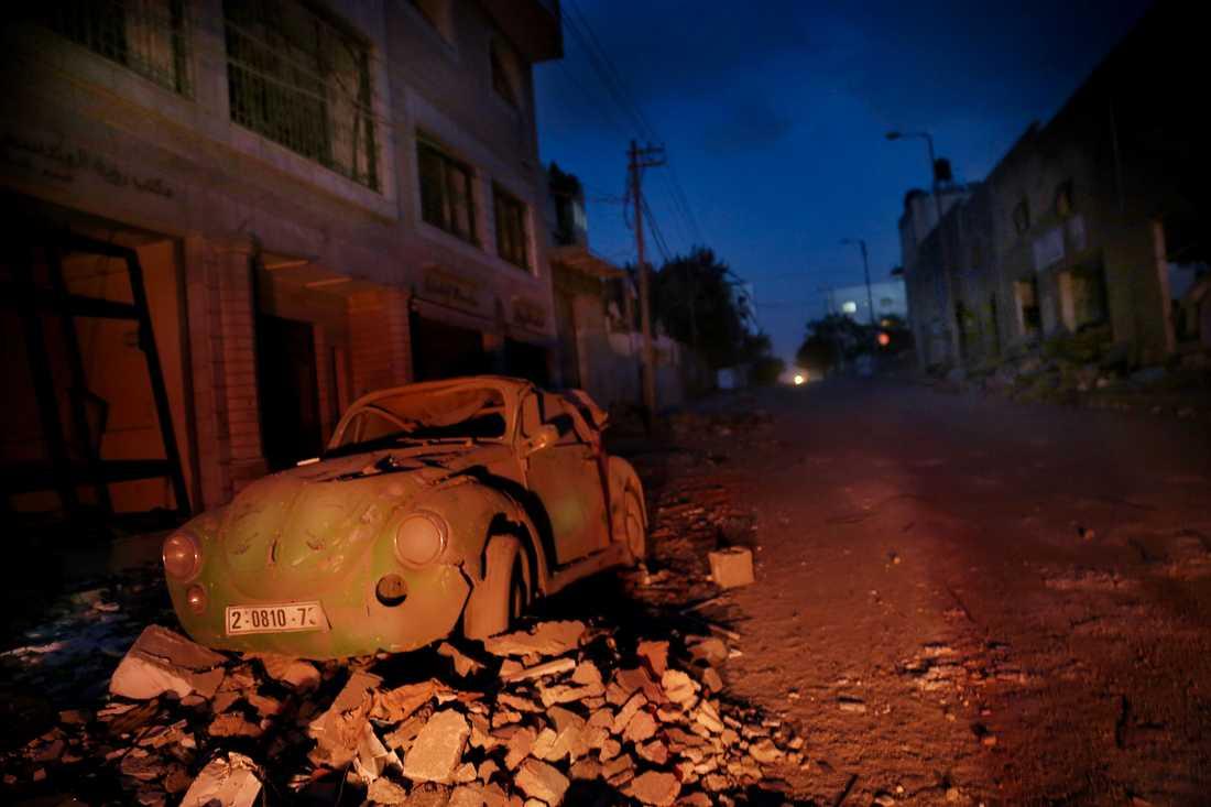 Öde gata i Gaza.