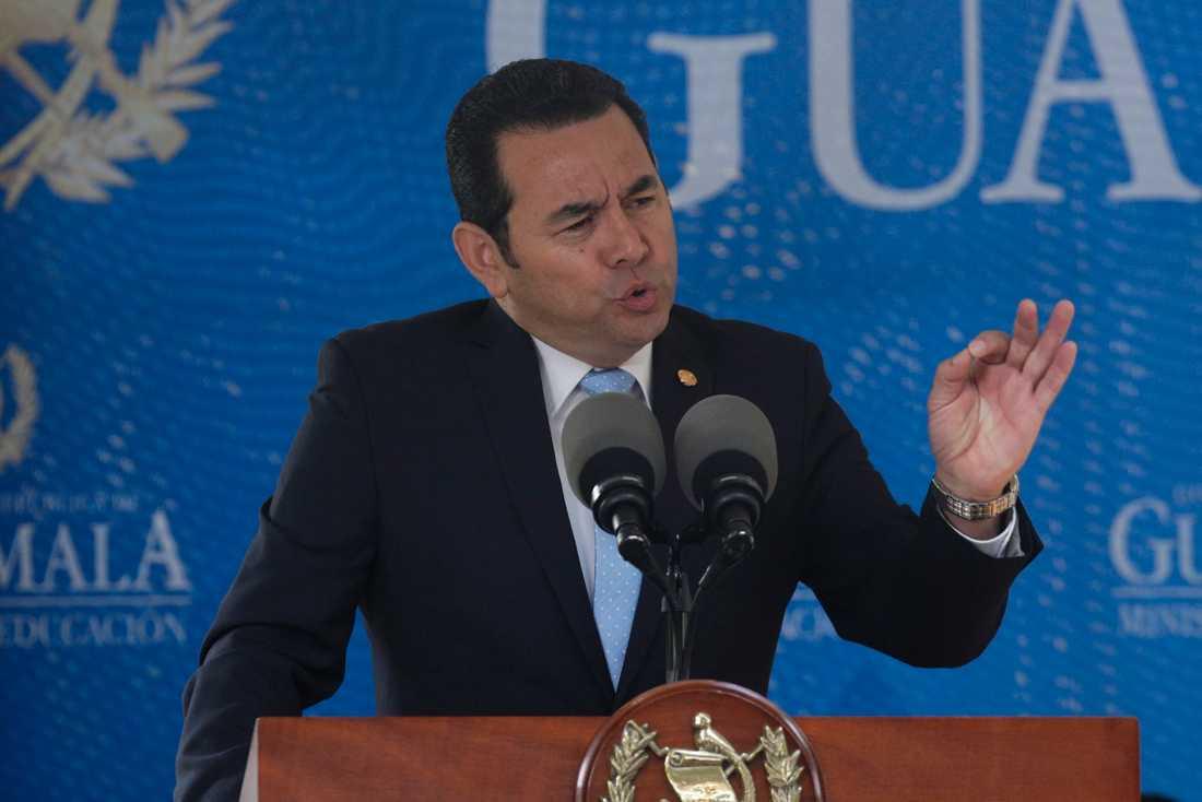Guatemalas president Jimmy Morales under ett tal i september i fjol.