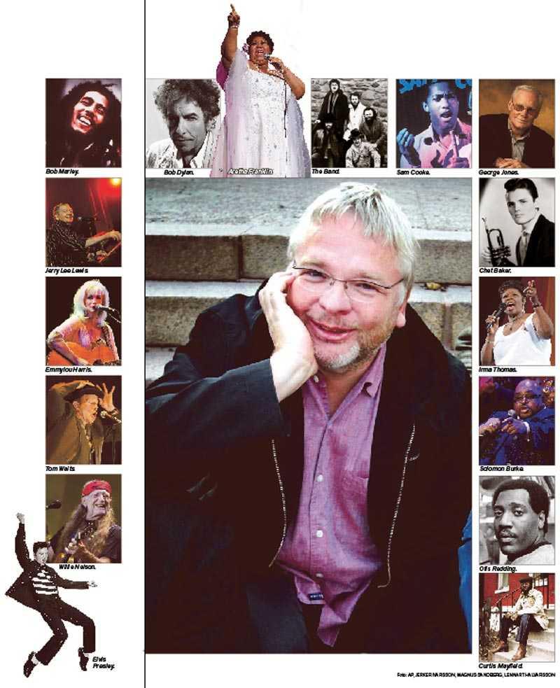 Nyligen avlidne rockjournalisten Lennart Persson, här omgiven av sina hjältar. Lennart skulle aldrig ha hållit med, men hans texter var ofta bättre och mer levande än musiken som de handlade om.