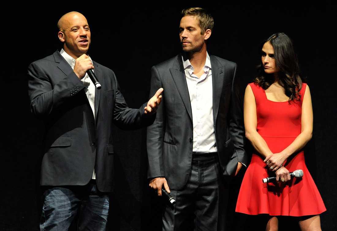 """Vin Diesel, Paul Walker och Jordana Brewster under ett """"Fast & furious 6""""-evenemang i Las Vegas i våras."""