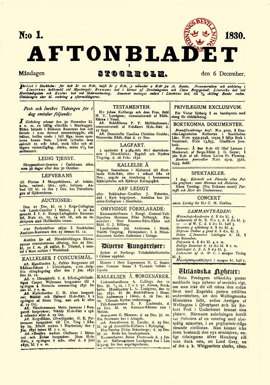 Premiär! Här är första numret av Aftonbladet från 1830.
