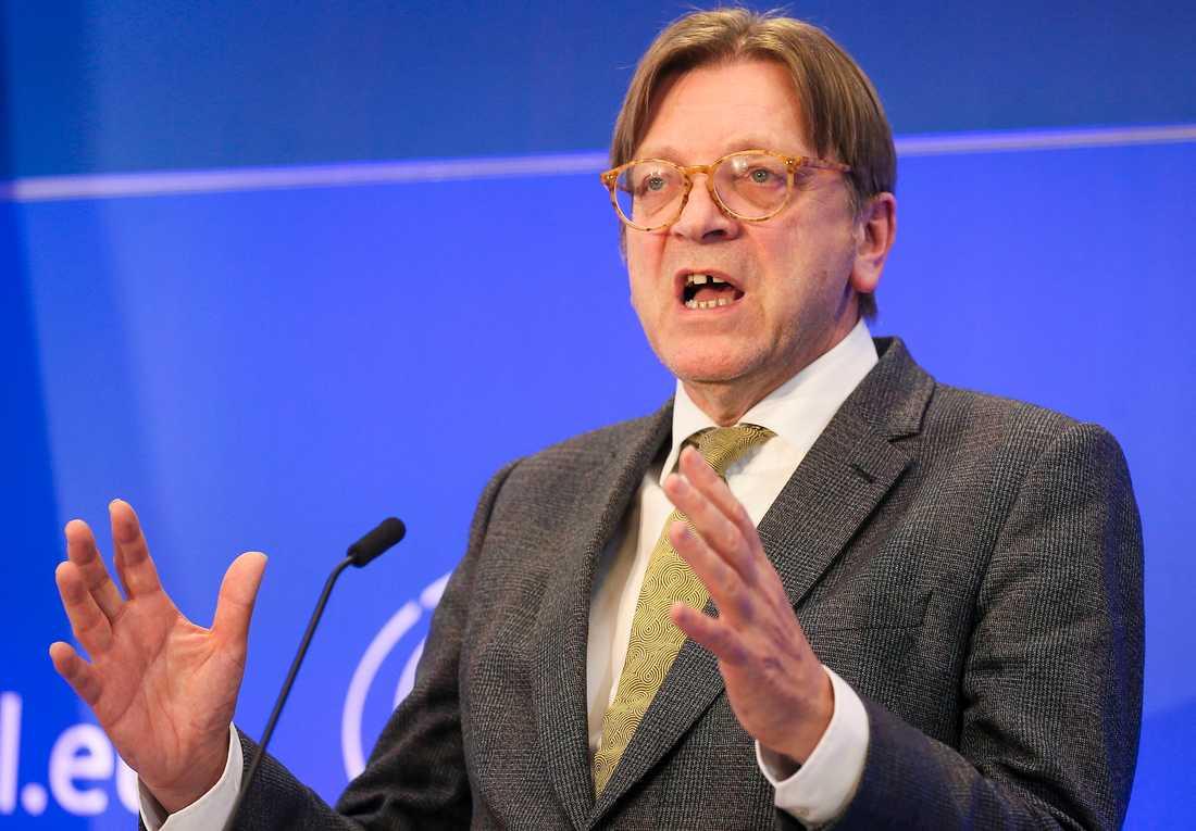 Guy Verhofstadt, ansvarig för brexitbehandlingen i EU-parlamentet. Arkivbild.