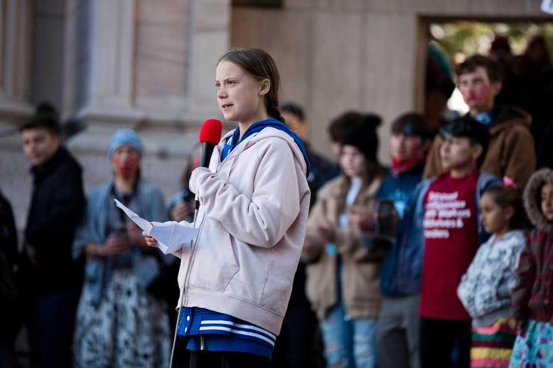 Greta Thunberg talar i Denver.