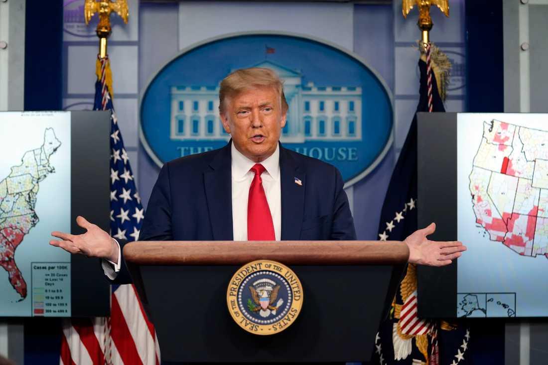 USA:s president Donald Trump vid torsdagens presskonferens.