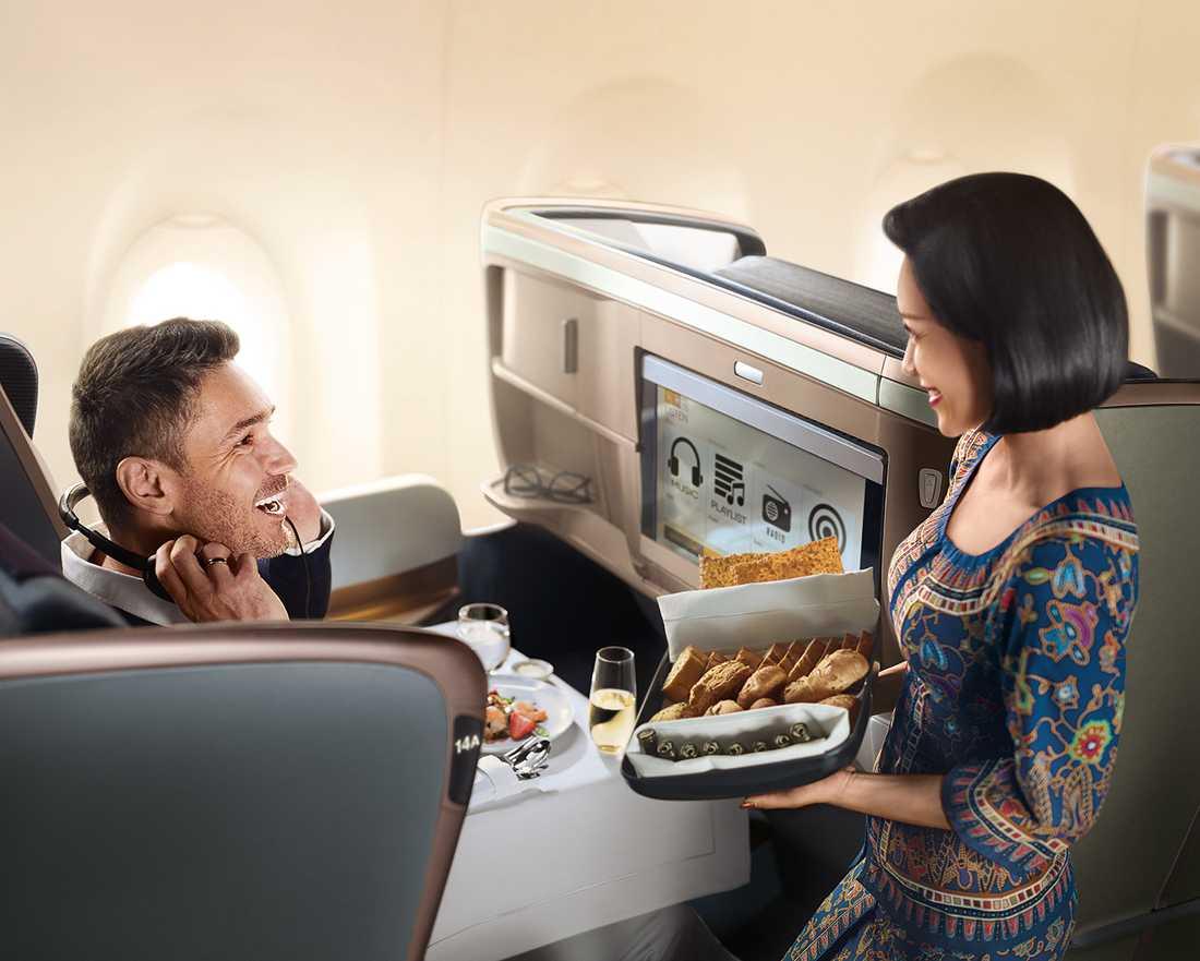A350-900 har 42 platser i business class.