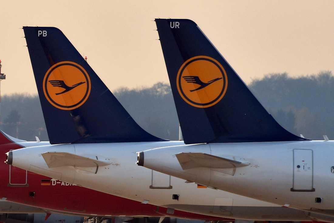 Arkivbild på Lufthansa-plan.