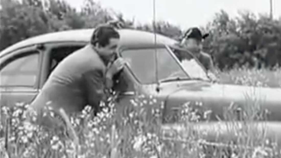 Han tvingas köra sin bil genom ett rapsfält, eftersom det inte finns några vägar.