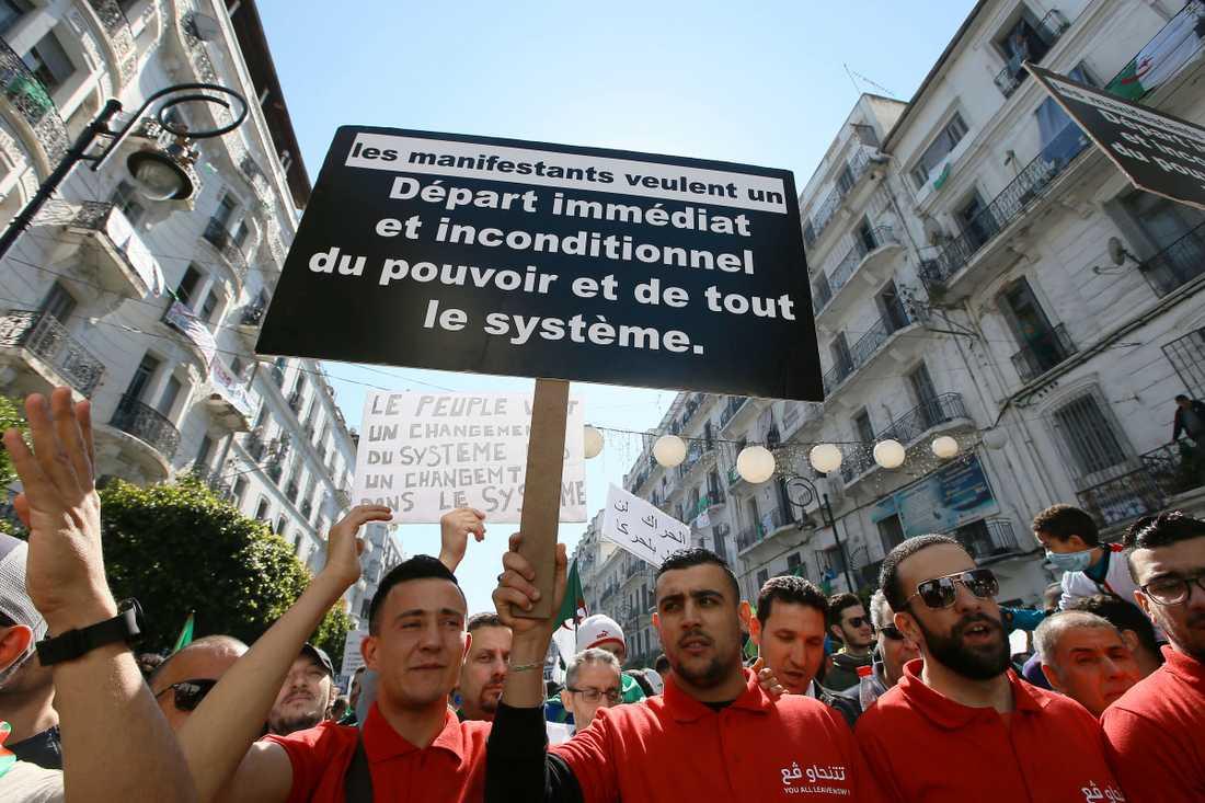 En demonstrant håller upp ett plakat som kräver systemskifte i Algeriet.