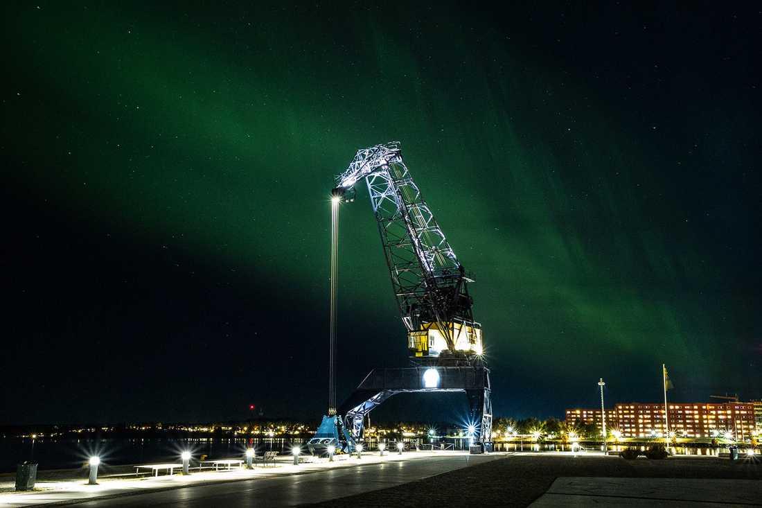 Norrsken uppe i Luleå, fotograferat av Robert Nyholm.