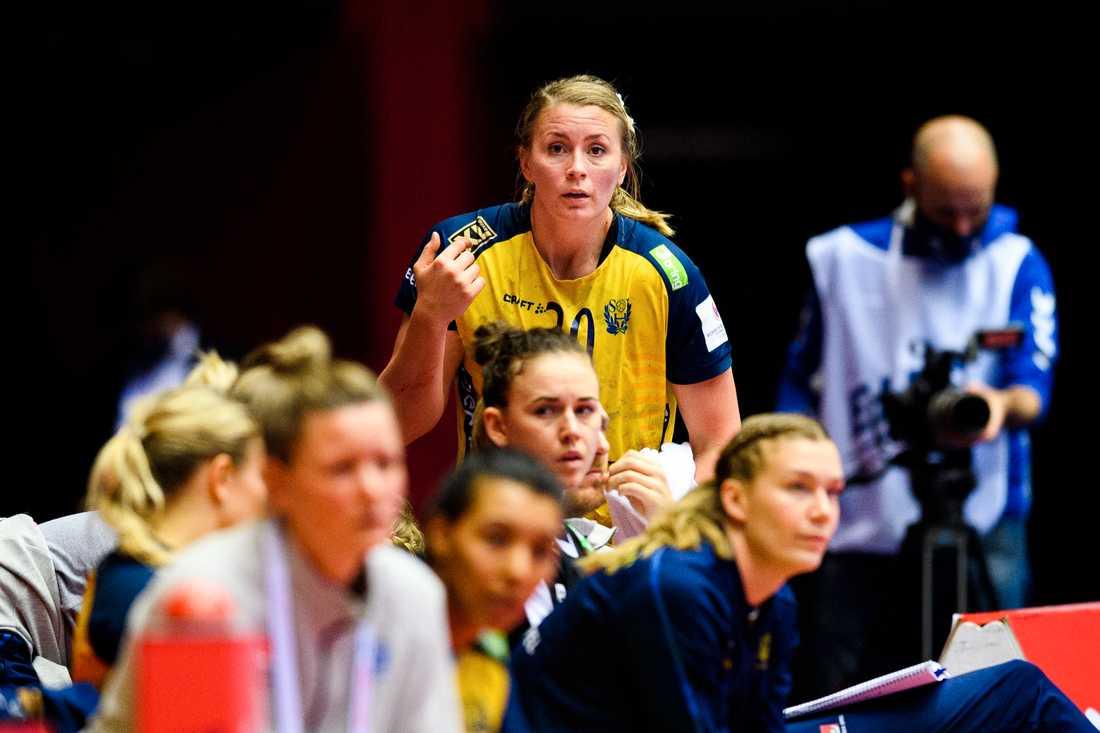 Isabelle Gulldén under hennes sista match med landslaget.