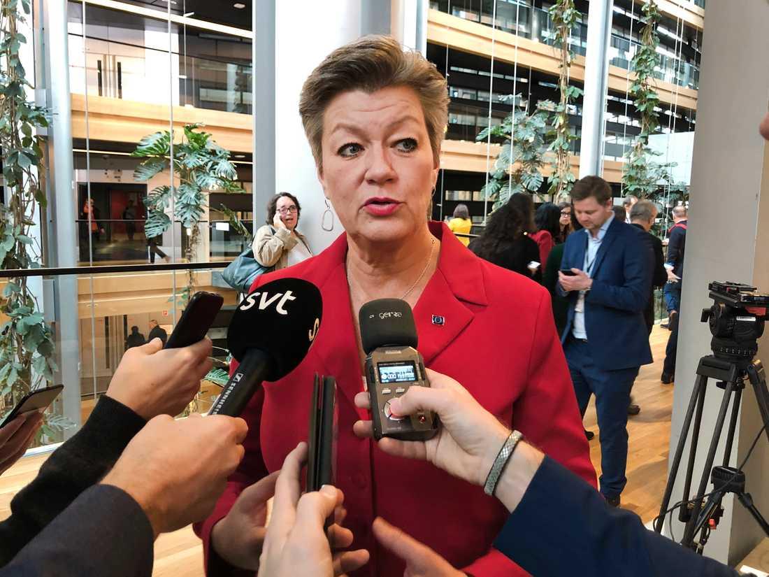 EU:s tillträdande inrikeskommissionär Ylva Johansson efter onsdagens omröstning i EU-parlamentet.