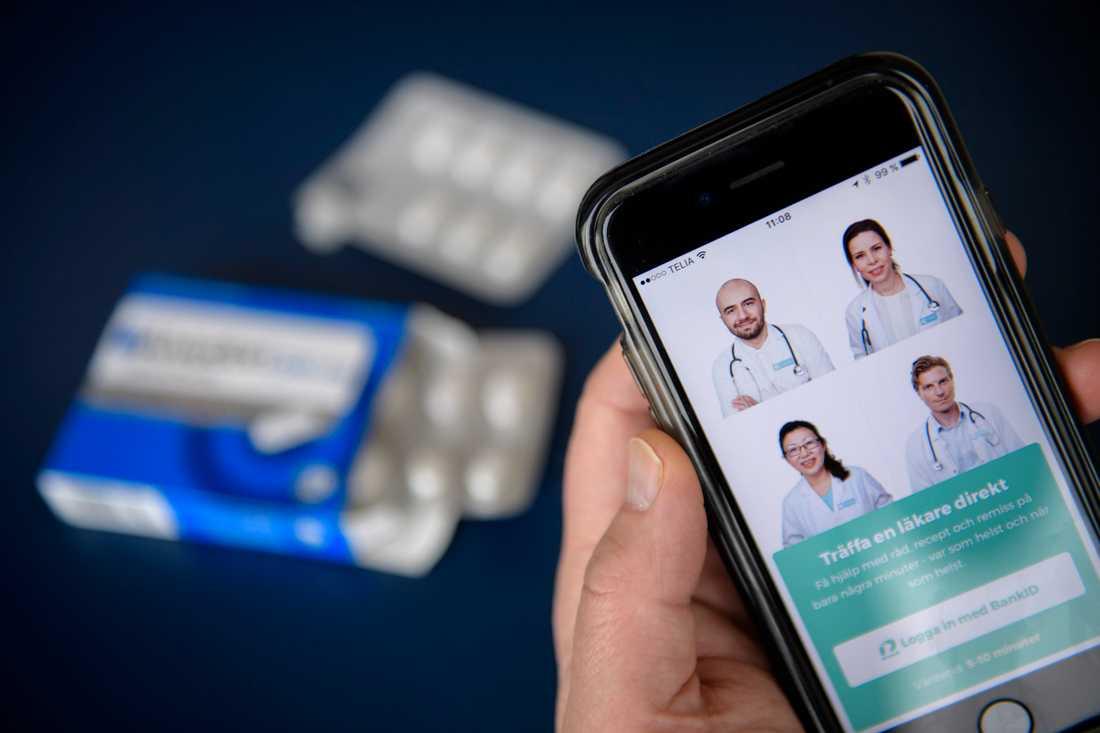 Läkarappar såsom Kry, Min Doktor, Doktor 24 och MediCheck har fått ett uppsving under coronapandemin. Arkivbild.