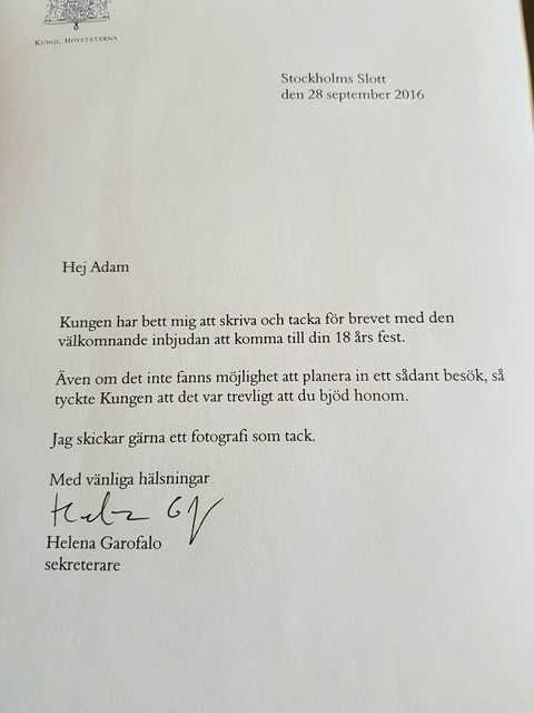Svaret Adam fick från hovet.