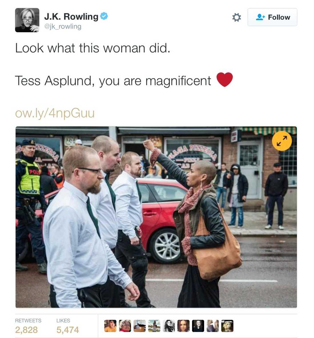 """J.K. Rowling: """"Titta vad den här kvinnan gjorde. Tess Asplund, du är magnifik."""""""