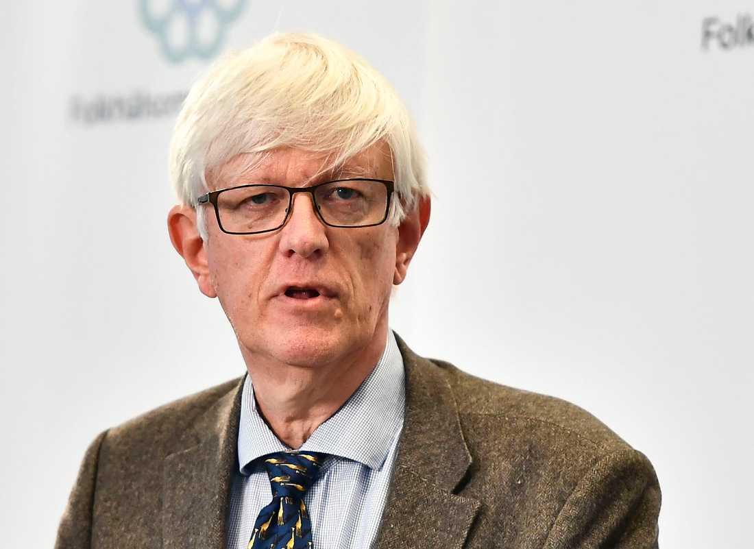 Johan Carlson, generaldirektör på Folkhälsomyndigheten, under fredagens pressträff.