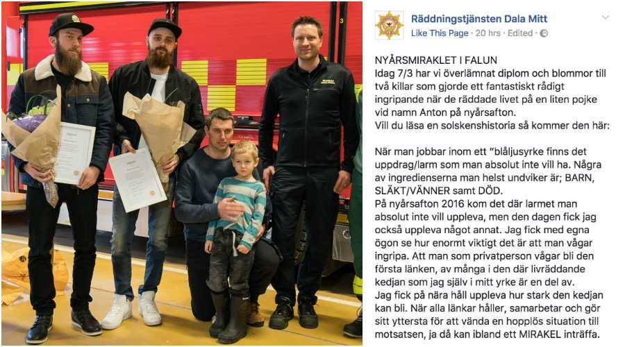 Daniel och Robin räddade fyraårige Anton ur det iskalla vattnet.